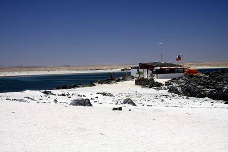 BAHIA INGLESA, CHILE - DECEMBER 26. 2011: White sand beach (Playa blanca) at pacific coast of Atacama desert 報道画像