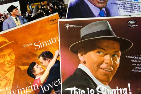 Viersen, Germany - 3. January 2020: Close up of Frank Sinatra vinyl record album covers