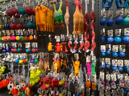 Roermond, Netherlands - July 9, 2020: View on wall in pet store with choice of various toys for domestic animals