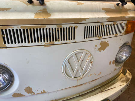 Venlo, Netherlands - July 9, 2020: View on front of classic white VW bus with primer surfacer from lacquer work