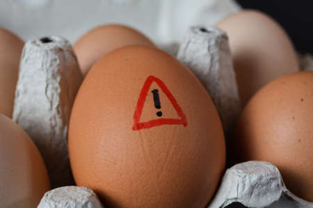 Closeup of isolated raw brown eggs in carton box with warning sign - salmonella infection risk and cholesterol consumption concept