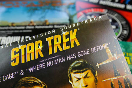 Viersen, Germany - July 9. 2020: Closeup of isolated vintage vinyl record cover with soundtrack of tv series Star Trek from the seventies
