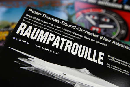 Viersen, Germany - July 9. 2020: Closeup of isolated vintage vinyl record cover with soundtrack of german tv series raumpatrouille orion from the sixties