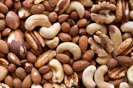 magnesium: A selection of nuts: close-up Stock Photo