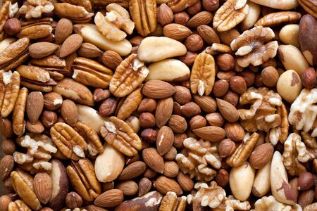 selenium: A selection of nuts: close-up Stock Photo