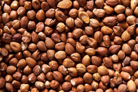 Background of hazelnuts: top view Stock Photo - 6973208