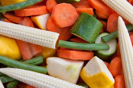 Various vegetables cut and prepared for cooking