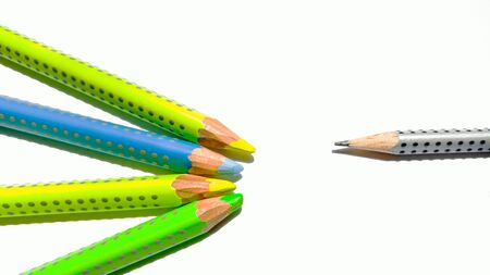 A different pencil expelled from the same Stock Photo
