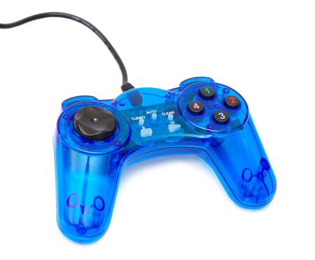 The blue glass game controler on a white background