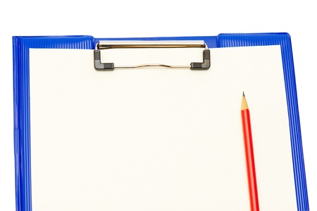 Dark blue folder with a red pencil and a yellow paper photo