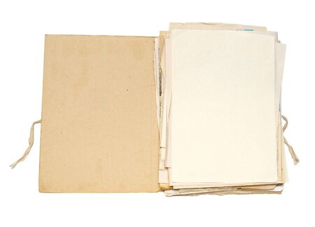 Open file with sheets of paper photo