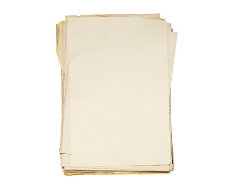 Pack of old papers it is isolated on the white photo