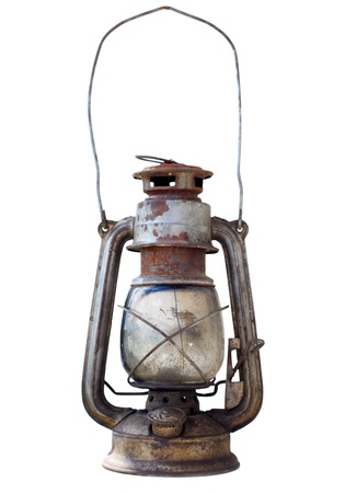 kerosene lamp: Old portable kerosene lantern Stock Photo