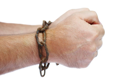 Hands chained in a chain Stock Photo - 13305641