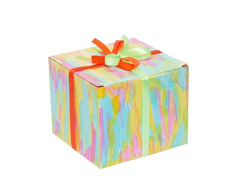 closed ribbon: Closed color gift box with ribbon
