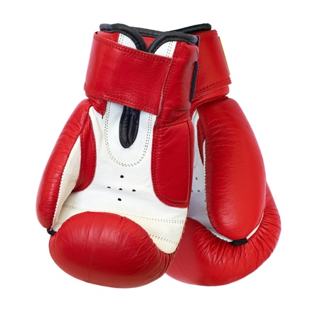 Two red boxing gloves isolated on white background photo