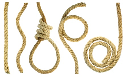 Figures and a loop of rope rough Stockfoto