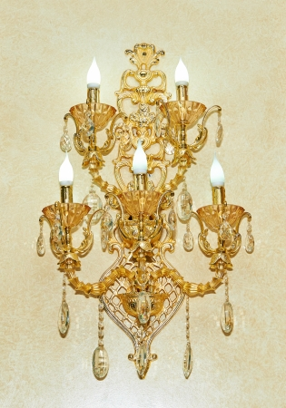 Golden wall sconces with lamps Stock Photo - 23722534