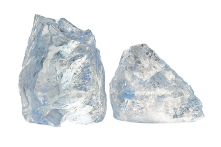 Two large pieces of ice on a white