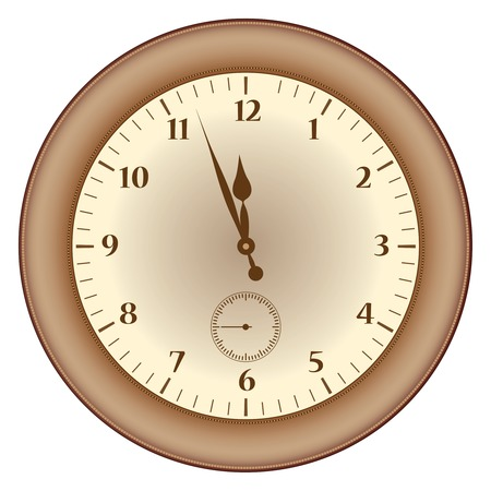 Grunge brown clock on a white illustration  Vector
