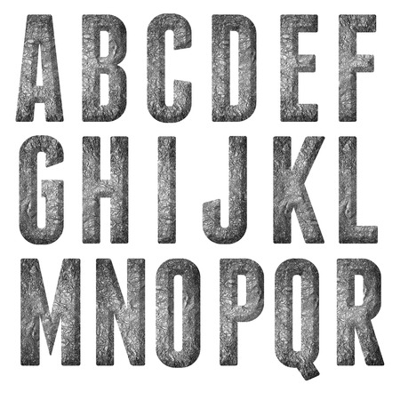 English alphabet, numbers and signs isolated, grungy photo