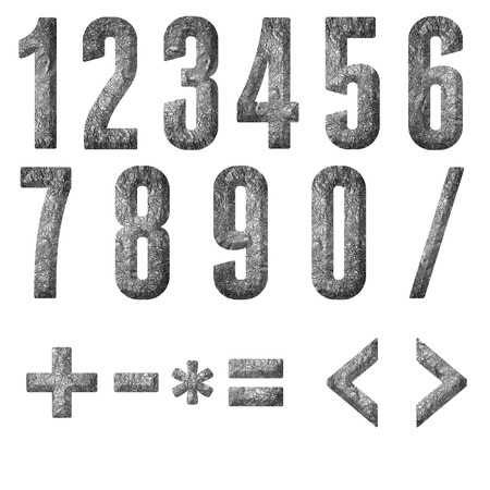 English alphabet, numbers and signs isolated, grungy