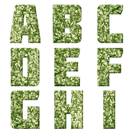 Alphabet from military fabric texture on white background.