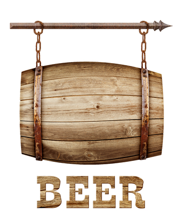 Barrel shaped wooden signboard on rusty chains Stockfoto