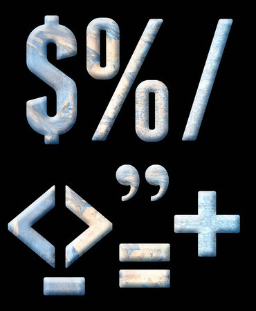 Frozen alphabet, numbers and punctuation. On a black background.