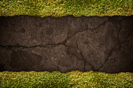 Soil texture with frame of grass Stockfoto