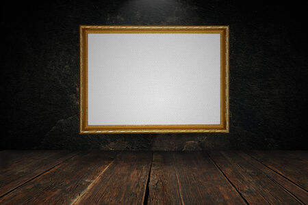 Blank canvas in a gold frame 写真素材