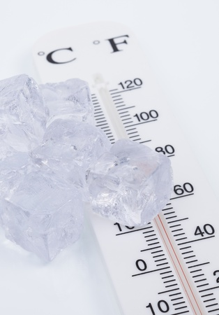 Ice cubes and Thermometer photo
