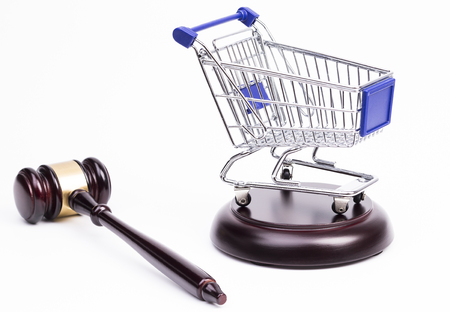 e auction: Justice Gavel with Shopping Cart on a white background