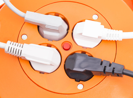 power cables: Image shows a multi plug with different electrical power cables