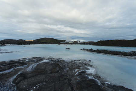 therapy geothermal: Image shows a part of the Blue Lagoon in Iceland during midsummer