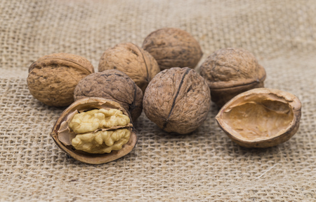paring: Image shows some walnuts  on a jute bag