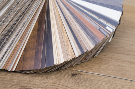 several samples of inlay on a wooden table