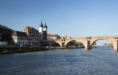 Image shows an old bridge over the River Neckar in Heidelberg Lizenzfreie Bilder