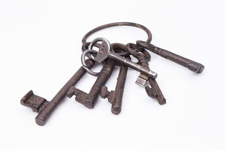 Image shows an old, rustic key ring Stock Photo