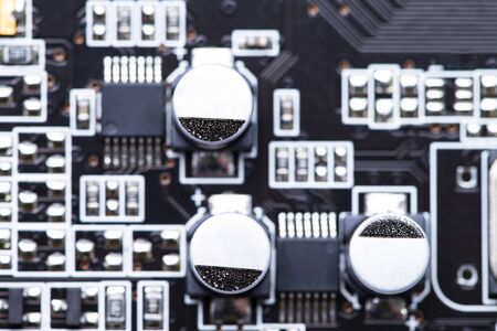 Image shows a electronic board from above in a detailed view