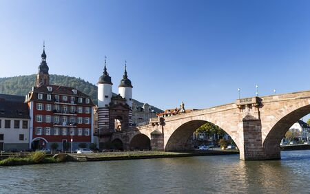 The photo shows a panoramic view of Heidelberg from a ship