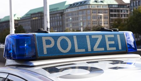 The image shows a light bar on a police car in Germany Standard-Bild
