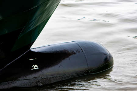 Image shows a Bulbous bow of a vessel in the water Standard-Bild