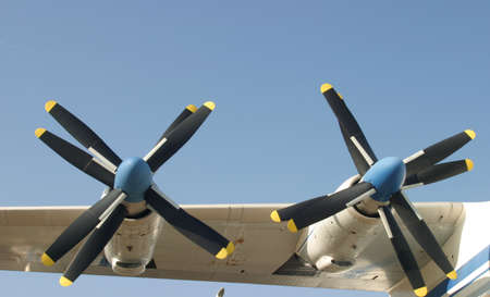 Front view of a heavy cargo aircraft wing with two propeller turbines Stock Photo - 1479157