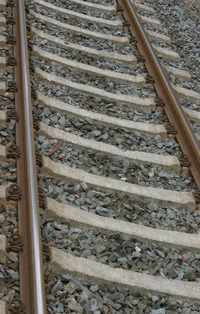 railtrack: Perspective view of a single railway track Stock Photo