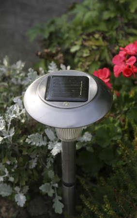 solarpanel: solar powered garden light for illuminating a garden path