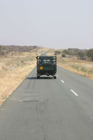 convoy: Leading vehcle of an scientific expedition convoy in Namibia, Africa, going to the study site Stock Photo