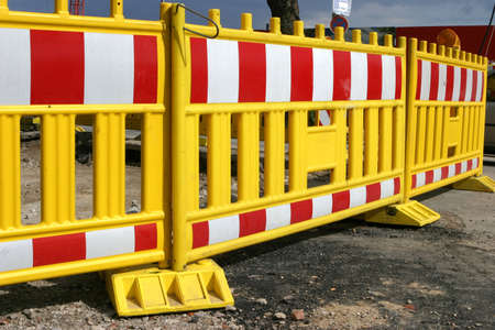 roadworks: Road barrier surrounding the area of some roadworks in the city