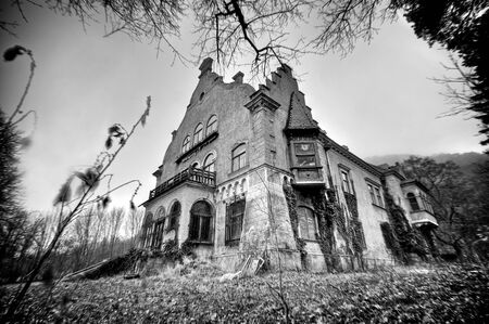 Decrepit halloween castle photo