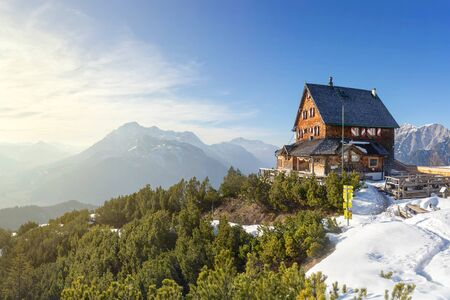 pine forest: Mountain cabin in the alps Editorial